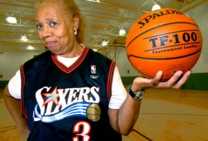 Fifties basketball star Dr. Sylvia Colston-Stills, 71, still shoots hoops every day.  Though she may hang up her hightops after reading this.